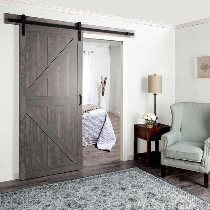 Renin cherry sliding barn door photo