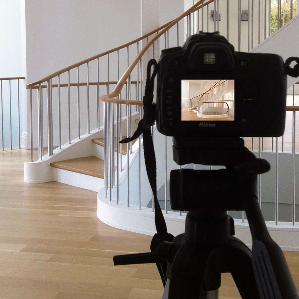 Photo of a camera taking a shot of a Cooper Stairworks stair