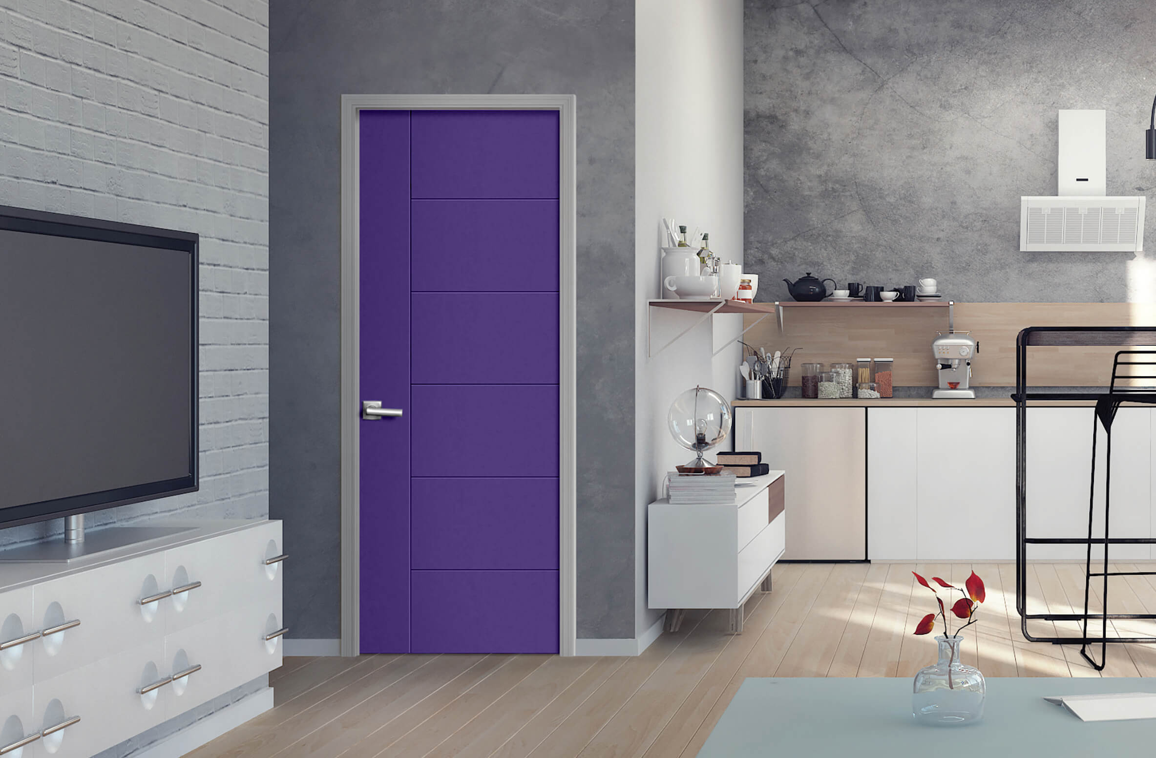 Photo of Masonite modern purple door