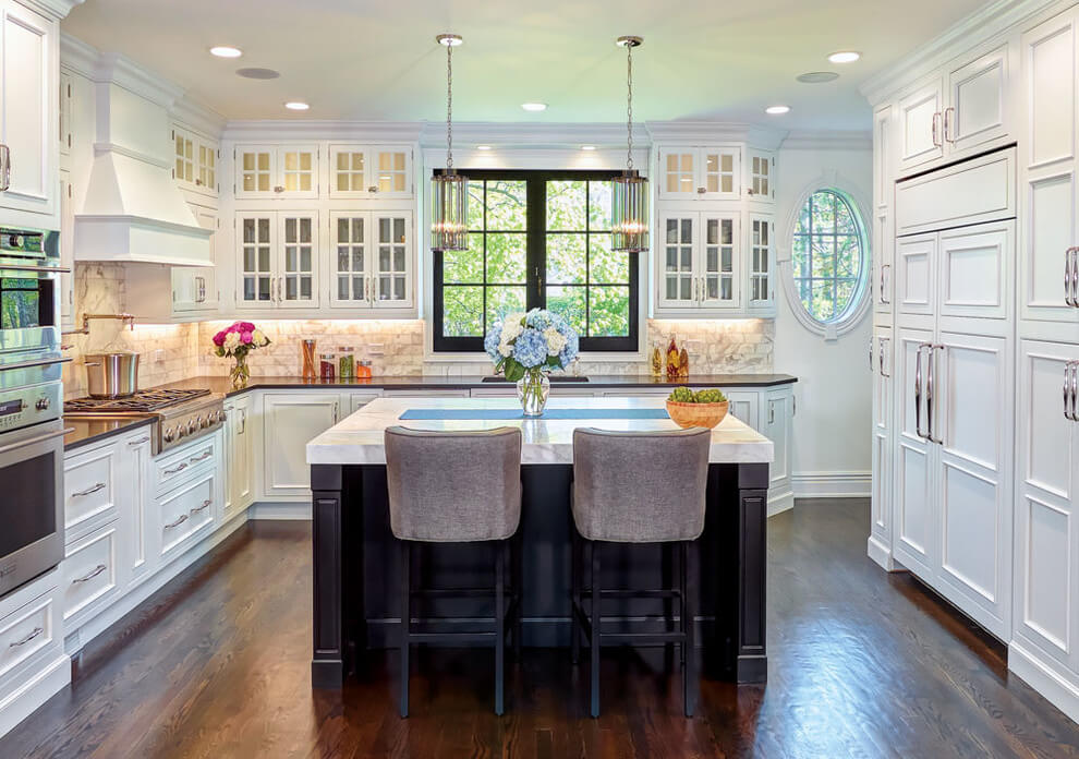 Photo of a white kitchen